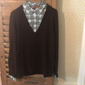 Tory Burch Brown Sweater with Blue Accents, Size L